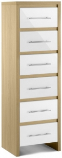Julian Bowen Stockholm White Chest of Drawer - Narrow 6 Drawers