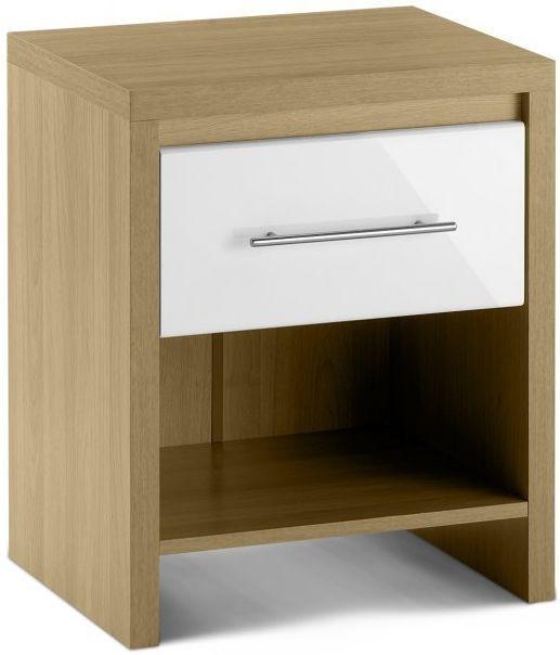 Julian Bowen Stockholm White Bedside Cabinet - 1 Drawer