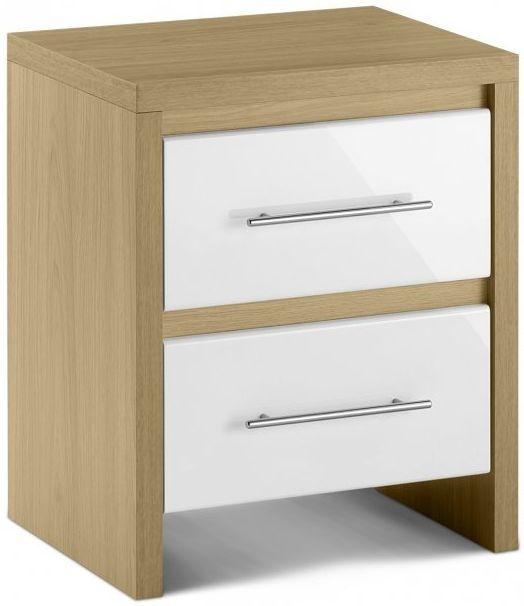 Julian Bowen Stockholm White Bedside Cabinet - 2 Drawers