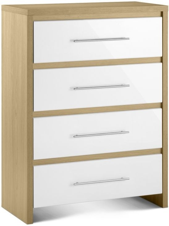 Julian Bowen Stockholm White High Gloss 4 Drawer Chest