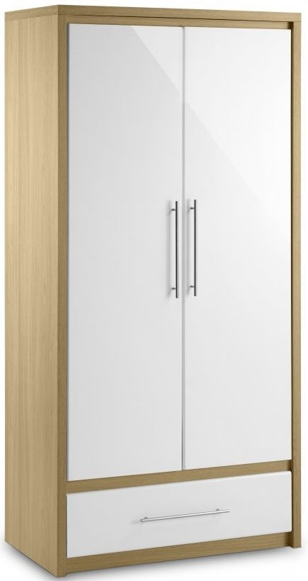 Julian Bowen Stockholm White High Gloss Combination Double Wardrobe - 2 Door 1 Drawer