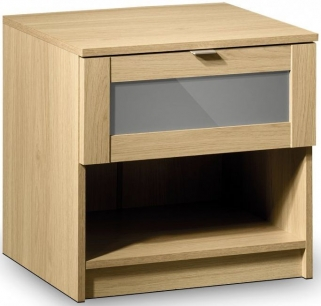 Julian Bowen Strada Light Oak Bedside Cabinet - 1 Drawer