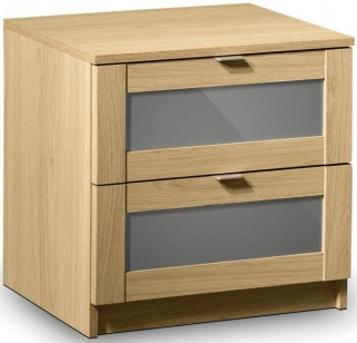 Julian Bowen Strada Light Oak Bedside Cabinet - 2 Drawers