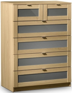 Julian Bowen Strada Light Oak Chest of Drawer - 4 + 2 Drawers