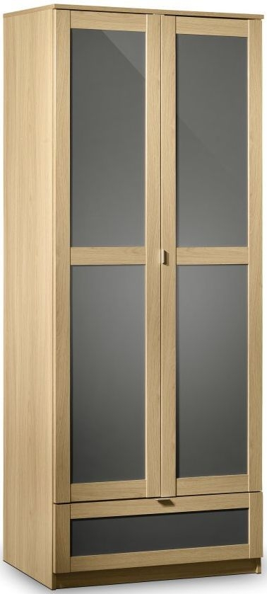 Julian Bowen Strada Light Oak Wardrobe - Combination 2 Doors 1 Drawer