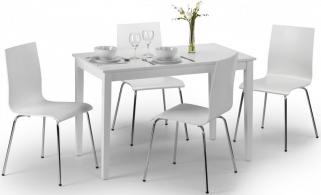 Julian Bowen Taku White Dining Set with 4 Mandy Chair