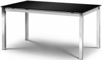 Julian Bowen Tempo Glass Dining Table - Black and Chrome