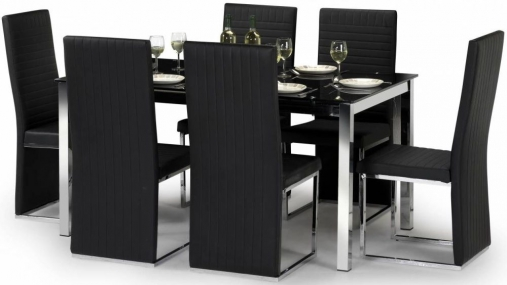 Julian Bowen Tempo Glass Dining Table and 6 Chairs - Black and Chrome