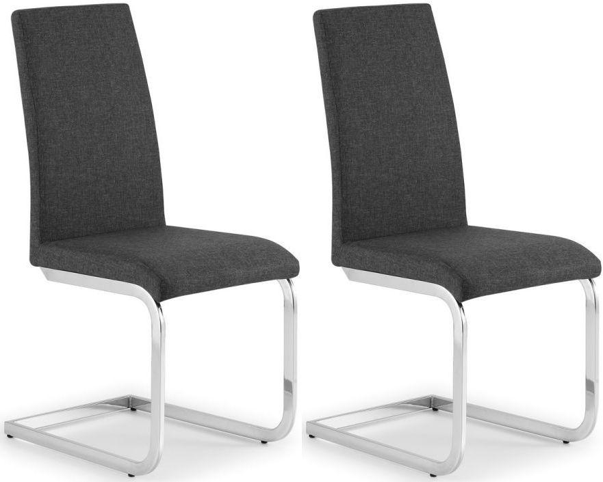 Julian Bowen Roma Cantilever Slate Grey Fabric Dining Chair (Pair)