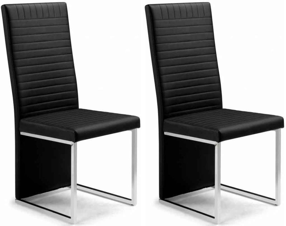 Buy Julian Bowen Tempo Dining Chair (Pair) - Black Faux Leather Online - CFS UK  sc 1 st  Choice Furniture Superstore & Buy Julian Bowen Tempo Dining Chair (Pair) - Black Faux Leather ...