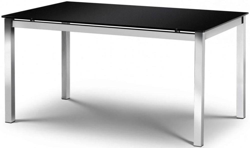 Julian Bowen Tempo Black Glass Top Dining Table - 160cm Rectangualr Fixed Top