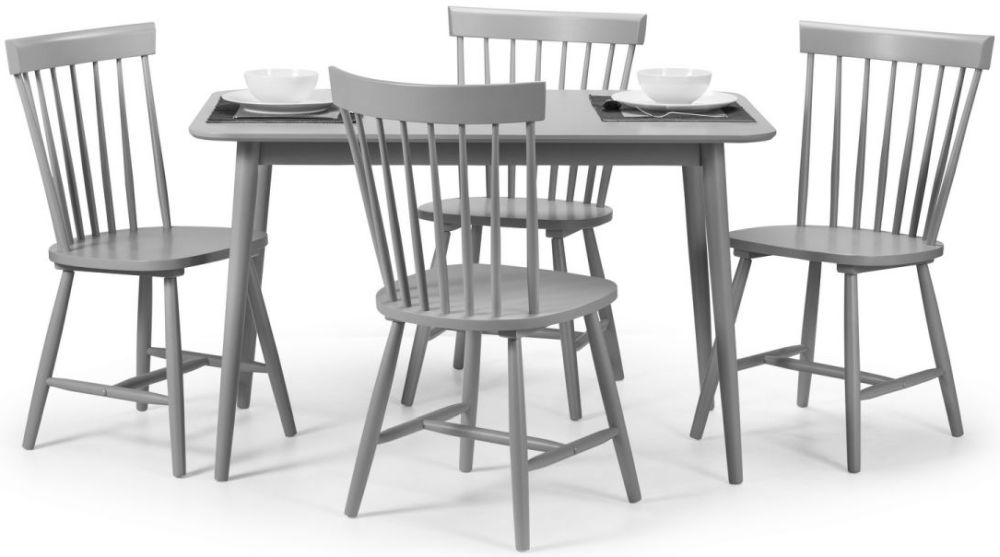 Julian Bowen Torino Lunar Grey Rectangular Dining Set with 4 Dining Chairs - 120cm