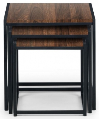 Julian Bowen Tribeca Walnut and Black Metal Nest of Table