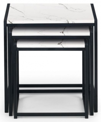 Julian Bowen Tribeca White Marble and Black Nest of Table