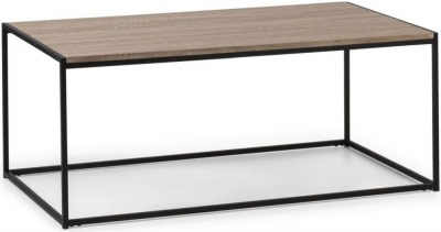 Julian Bowen Tribeca Sonoma Oak and Black Metal Coffee Table