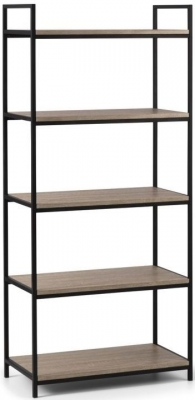 Julian Bowen Tribeca Sonoma Oak and Black Metal Tall Bookcase
