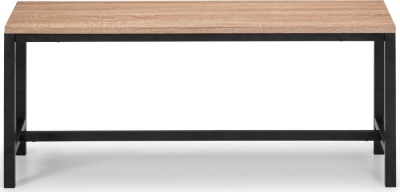 Julian Bowen Tribeca Sonoma Oak and Black Metal Dining Bench
