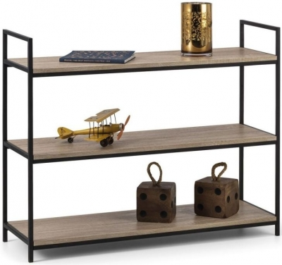 Julian Bowen Tribeca Sonoma Oak and Black Metal Low Bookcase