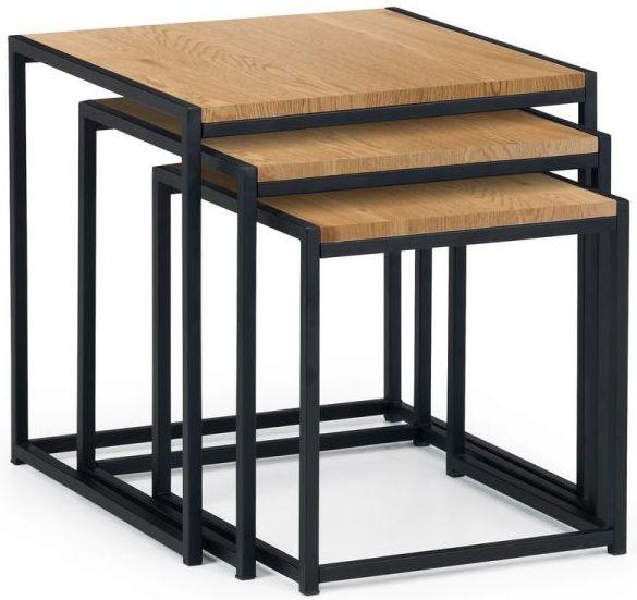 Julian Bowen Tribeca Euro Oak and Black Metal Nest Of Tables