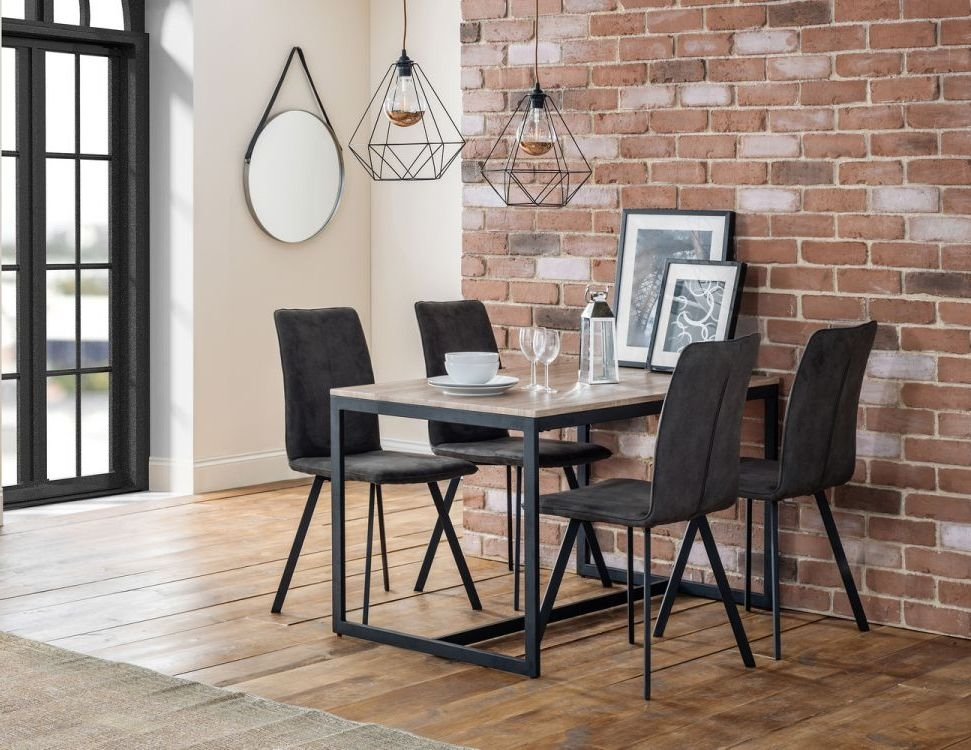 Julian Bowen Tribeca Dining Table and 4 Monroe Chair - Sonoma Oak and Charcoal Grey