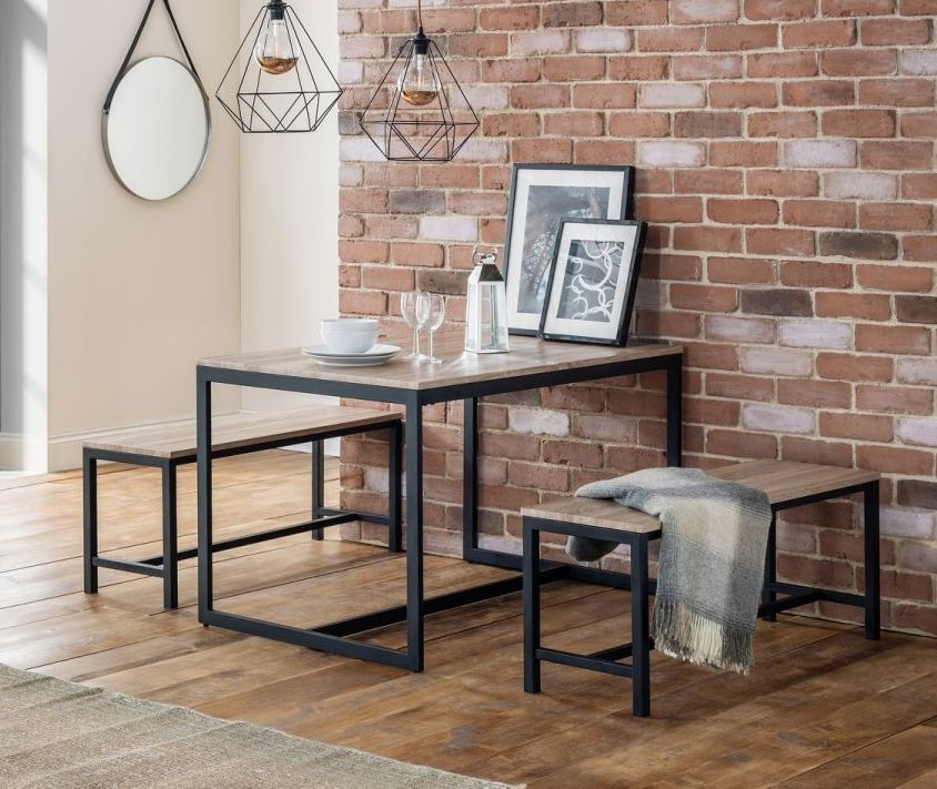 Julian Bowen Tribeca Dining Table and 2 Bench - Sonoma Oak and Black Metal