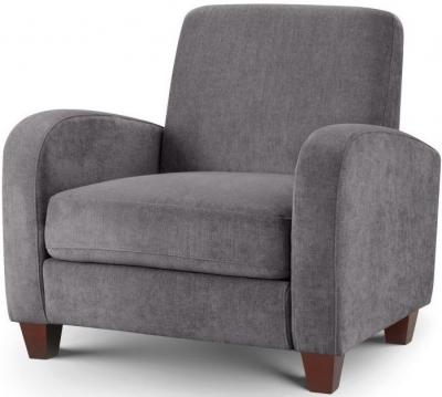 Julian Bowen Vivo Dusk Grey Chenille Fabric 1 Seater Sofa