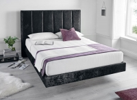 Kaydian Clarice Fabric Bed with 2 USB Port - Crushed Velvet Black