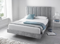 Kaydian Clarice Fabric Bed with 2 USB Port - Crushed Velvet Silver