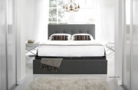 Kaydian Hexham Fabric Bed with Storage Drawer - Smoke