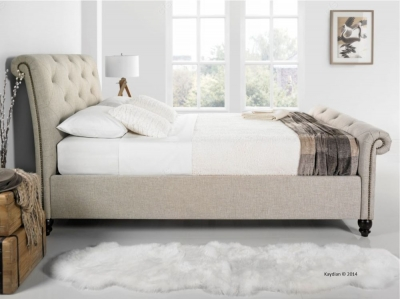 Kaydian Belford 5ft King Size Fabric Sleigh Bed - Oatmeal