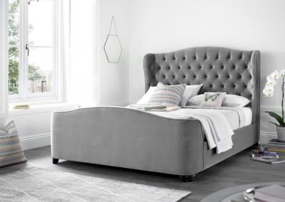 Kaydian Duchess Fabric Bed - Velvet Plume Pale Grey