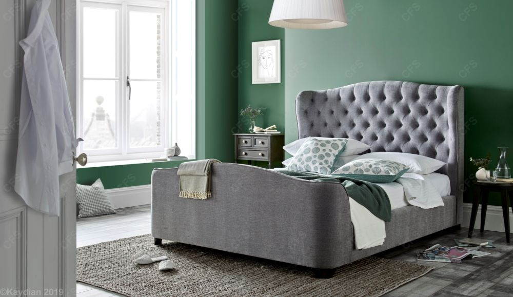 Kaydian Duchess Bed - Maskat Light Grey Fabric