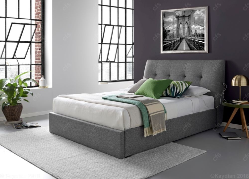 Kaydian Gosforth Fabric USB Bed with Footend Drawer - Gabon Charcoal