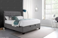 Kaydian Cheviot Fabric Auto Lift Ottoman Storage Bed - Smoke