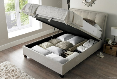 Kaydian Accent Ottoman Storage Bed - Oatmeal Fabric