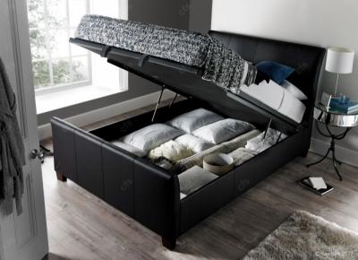 Kaydian Allendale Ottoman Storage Bed - Black Leather