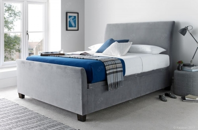 Kaydian Allendale Leather Ottoman Storage Bed - Plume Pale Grey