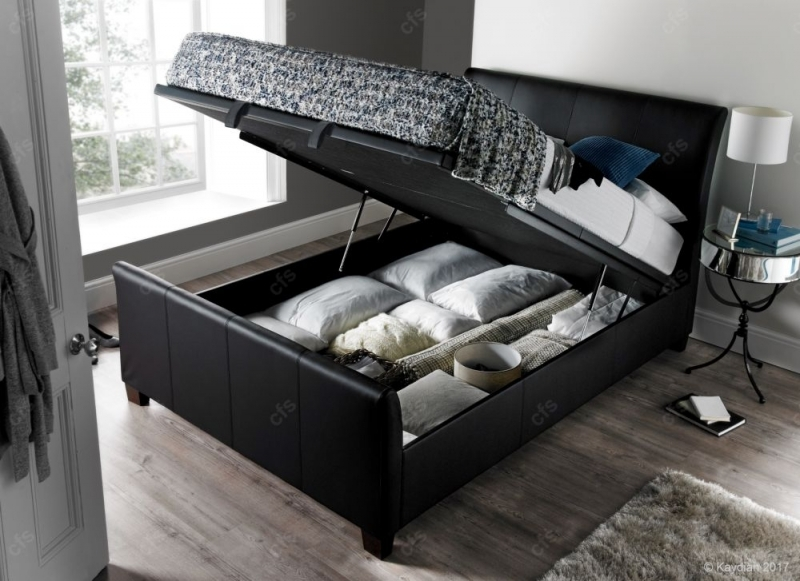 Kaydian Allendale Ottoman Storage Bed - Black Leather