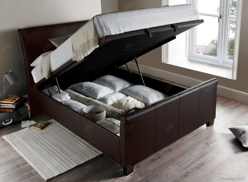 Kaydian Allendale Ottoman Storage Bed - Brown Leather