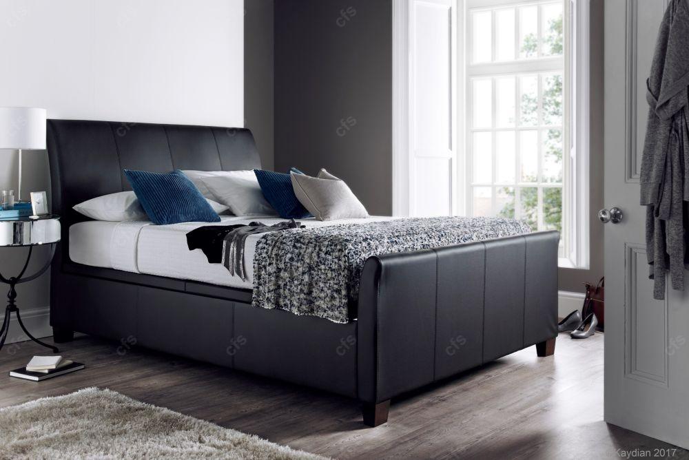 Kaydian Allendale Leather Ottoman Storage Bed - Black