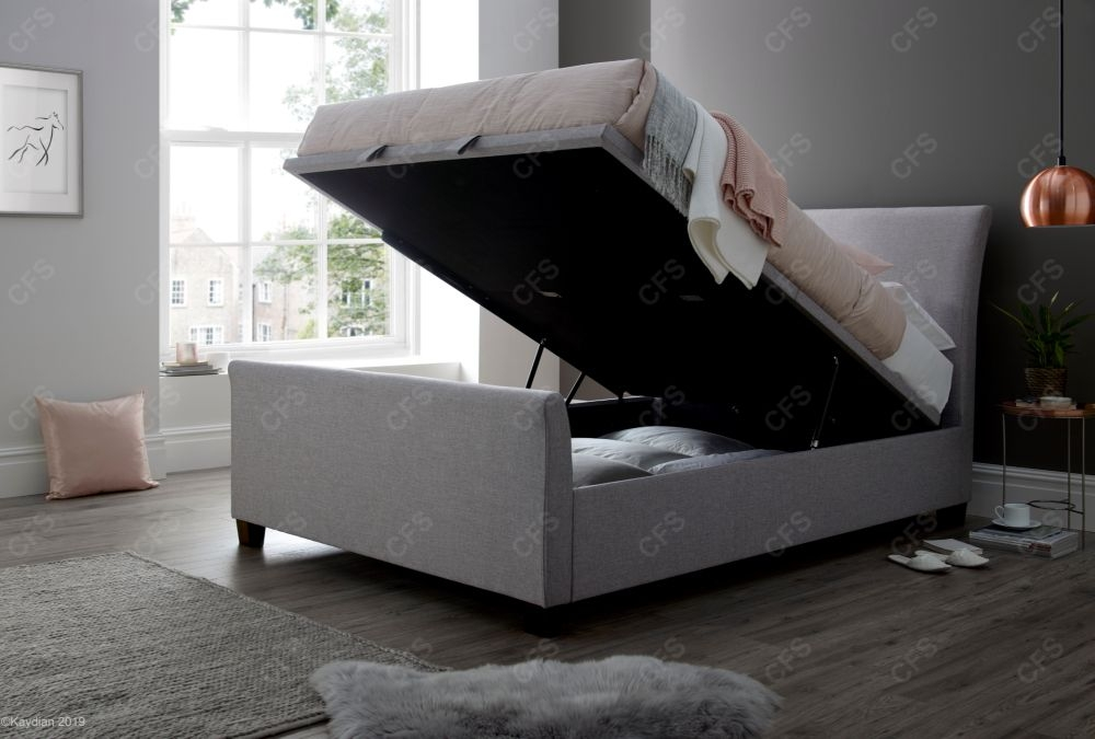 Kaydian Allendale Ottoman Storage Bed - Marbella Stone Fabric