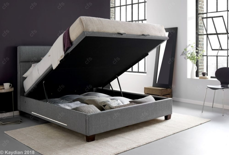Kaydian Chilton Fabric Ottoman Storage Bed with 2 Light and USB Port - Artemis Light Grey