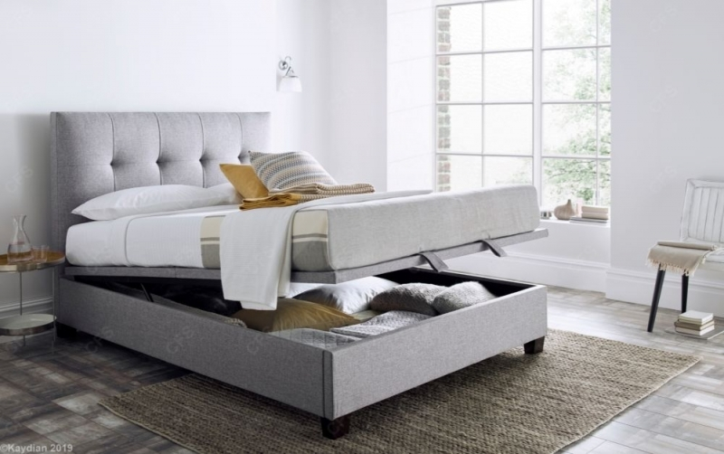 Kaydian Walkworth Ottoman Storage Bed - Marbella Grey Fabric
