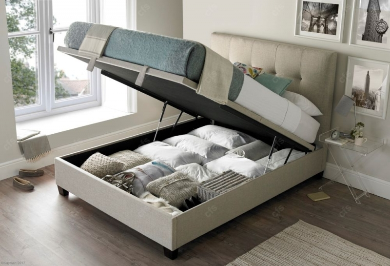 Kaydian Walkworth Ottoman Storage Bed - Oatmeal Fabric
