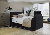 Kaydian Connect 6ft Ottoman Storage TV Bed - Black Madras Bonded Leather