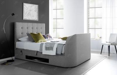 Kaydian Barnard Fabric Ottoman Storage TV Bed - Artemis Light Grey