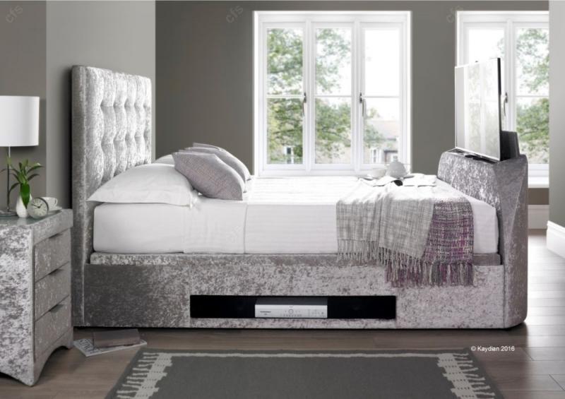 Kaydian Barnard Fabric Ottoman Storage TV Bed - Silver Crushed