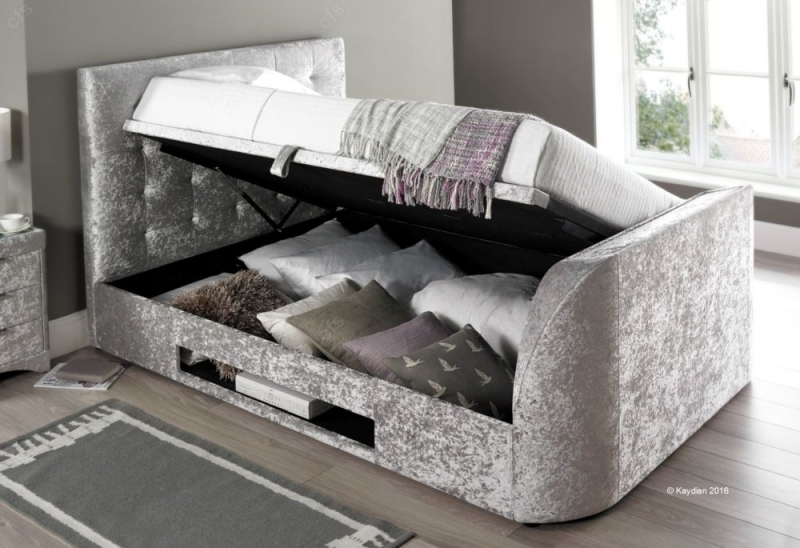 Kaydian Barnard Ottoman Storage TV Bed - Silver Crushed Velvet