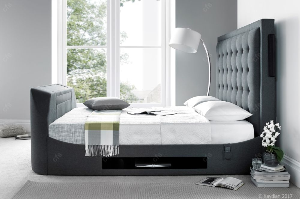 Kaydian Titan TV Bed with Media Speakers - Berwick Grey Fabric