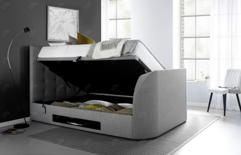 Kaydian Barnard Ottoman Storage TV Bed - Artemis Light Grey Fabric